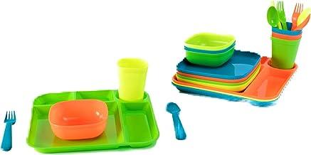 Your Zone Plastic Dinnerware Set of 4-24 Piece Kids Dinnerware Set Includes, Kids Cups, Kids Plates, Kids Bowls, Flatware ...