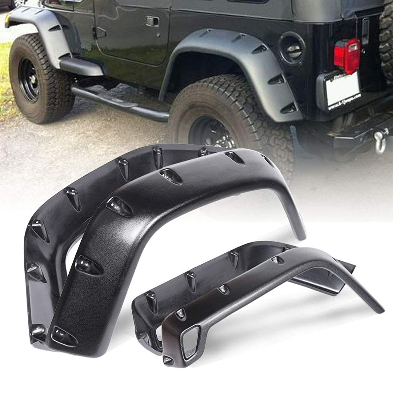 Newsmarts Textured Paintable ABS Smooth Fender Flares for 1997-2006 Jeep Wrangler TJ, Pack of 4