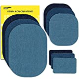 ZEFFFKA Premium Quality Denim Iron On Jean Patches No-Sew Shades of Blue 9 Pieces Assorted Cotton Jeans Repair Kit Different Sizes