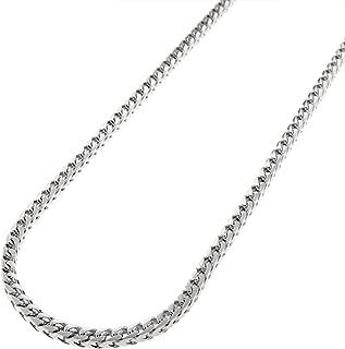 Sterling Silver 2.5MM Solid Franco Square Box Link Rhodium Necklace Chain-925 Franco Chain 18-30