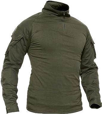 TACVASEN Ejército Hombres Militar Camisa Manga Larga Camuflaje Camo Camisetas