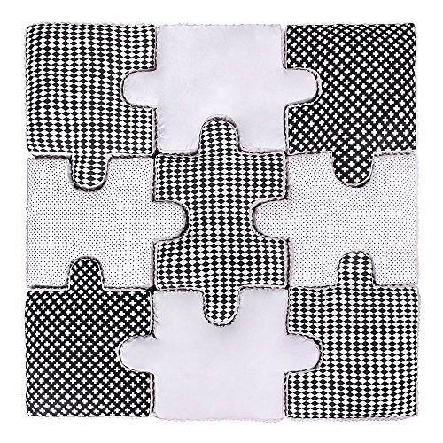 LULANDO Puzzle Kissen - 9-teiliges Set, weiche und praktische Puzzle Spielmatte Spielunterlage zum Toben und Spielen. Ideal für jedes Kinderzimmer. Farbe: Black And White, M00009308