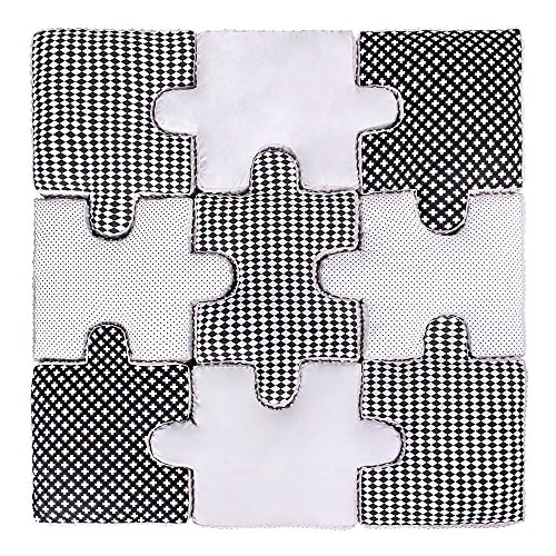 LULANDO Puzzle Kissen - 9-teiliges Set, weiche und praktische Puzzle Spielmatte Spielunterlage zum Toben und Spielen. Ideal für jedes Kinderzimmer. Farbe: Black And White
