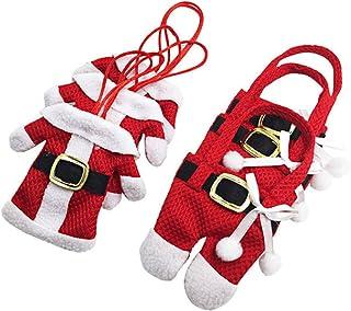 SKEIDO Santa Suit Christmas Silverware Holder Pockets Red 6Pcs Christmas Tableware Holders Set, White Snowman Knife and Fo...
