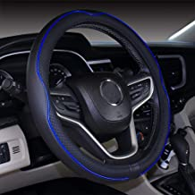 DuoDuoBling Genuine Leather Steering Wheel Cover 15 Inch for Men 2019 New Automotive Cute Jeep Car Interior Accessories (Dark Blue)