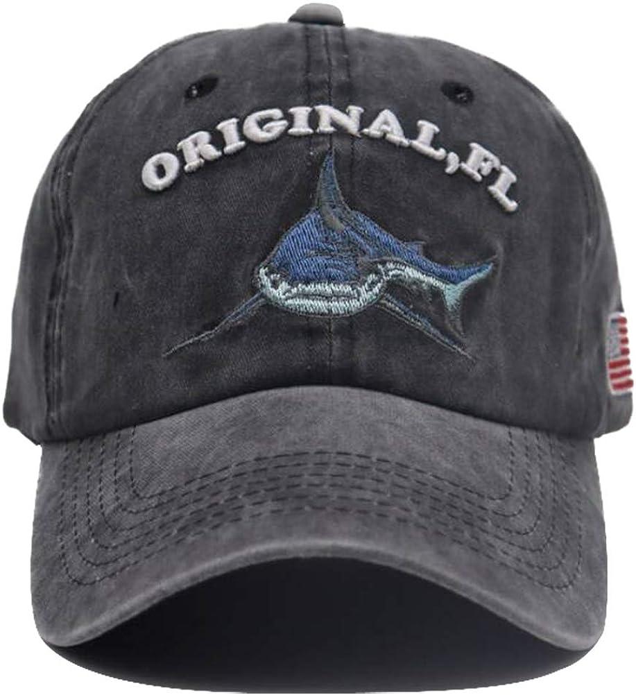 Men's Original FL Shark Hat Embroidered Florida Vintage Denim American USA Flag Baseball Cap