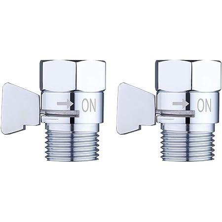 2 Pack Shower Head Flow Control Valve G1/2 Brass Shut-off Valve with Metal Handle Lever Shower Head Valve Water Flow Control Valve Regulator Shut OFF Valve for Hand Shower, or Bidet Sprayer