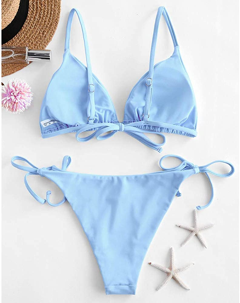 ZAFUL Women's Whip Stitch Textured String Triangle Bikini Set Two Piece Swimsuit