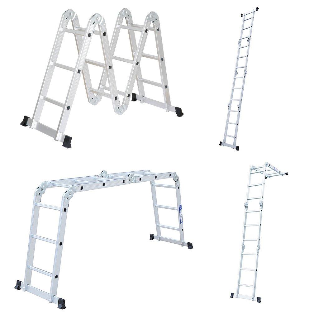 finether 6 en 1 – Escalera 3.7 m multiusos Escalera – Escalera plegable 4 x 3 peldaños Escalera escalera escalera Andamio Multi Andamio trabajo Etapa aluminio: Amazon.es: Bricolaje y herramientas