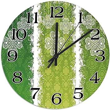 DKISEE Reloj de pared redondo de madera silencioso, antigüedades antiguas en bandas de color verde celta de encaje histórico imagen de decoración de pared de 30 cm