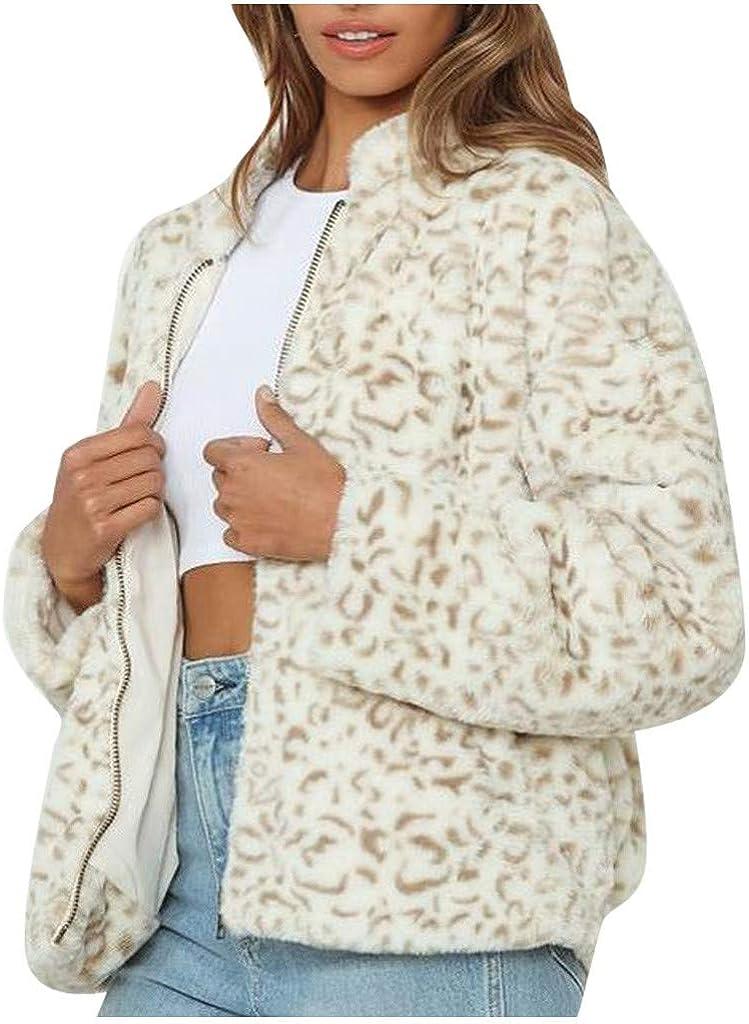 FORUU Teddy Jacket Womens 2020 New Winter Fashion Leopard Print Long-Sleeved Stand-up Collar Zipper Plush Coat