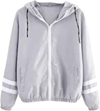 Holzkary Women's Casual Color Block Drawstring Hooded Hoodie Lightweight Windbreaker Sport Jacket with Zipper