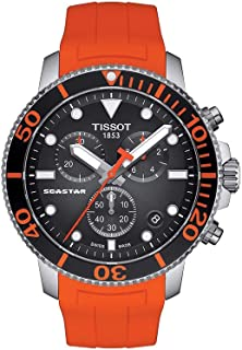 Men's Seastar 660/1000 Stainless Steel Swiss Quartz Rubber Strap, Orange, 22 Casual Watch (Model: T1204171705101)