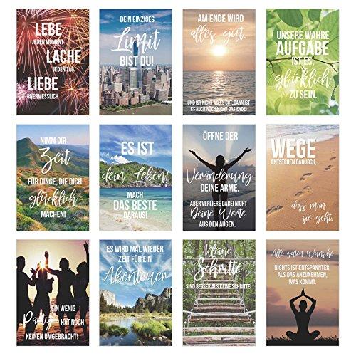 Edition Seidel Set 12 Postkarten mit Sprüchen - Karten mit Spruch - Geschenkidee - Dekoidee - Liebe, Freundschaft, Leben, Motivation, lustig – Postcrossing - Geburtstagskarten