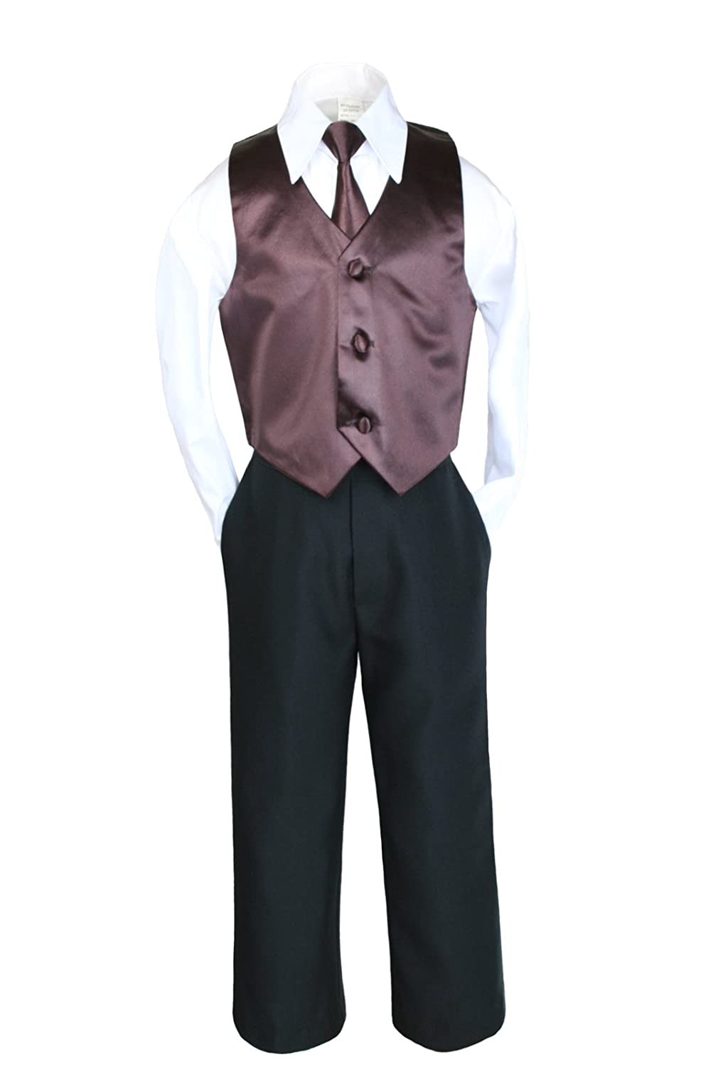 4pc Formal Wedding Boys Vest Set Suits Brown Necktie from 0 to 7 years (3T)