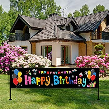 Colorful Happy Birthday Banner Large Happy Birthday Yard Sign Backdrop It s My Birthday Backdrop Party Indoor Outdoor Car Decorations