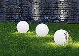 Dapo® Solar-Kugel-Dekoleuchte OLA Garten Dekokugel mit Erdspieß Solar-Erdspießleuchte Boden-Wege-Deko-Lampe (Drm. 20 + 20 + 20cm)