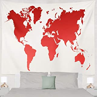 Deronge Antique World Map Tapestry Wall Art Decor, Tapestry Wall Hanging Decor Red World Map Globe America 60 X 80 Wall Tapestry for Men Bedroom Home Decor Tapestry Dorm