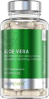 Aloe Vera Puro Concentrado Potente de 10.000mg Para Desintoxicar El Organismo | Suplemento Detox Para Adelgazar, Limpieza Intestinal, Depurativo para el Colon, Con Vitamina A y C, Vegano, 60 Cápsulas