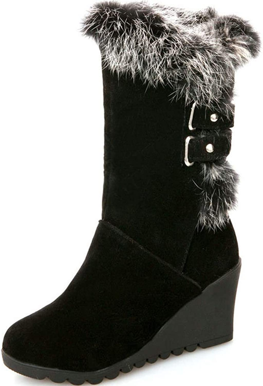 Sam Carle Women Boots, Fashion Solid color Wedge Hairy Slip On Round Toe Mid-Calf Boots