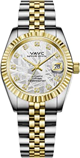 VAVC Men's Meteorite Dial Waterproof Automatic Self Wind Wrist Watch with Two Tone Stainless Steel Band