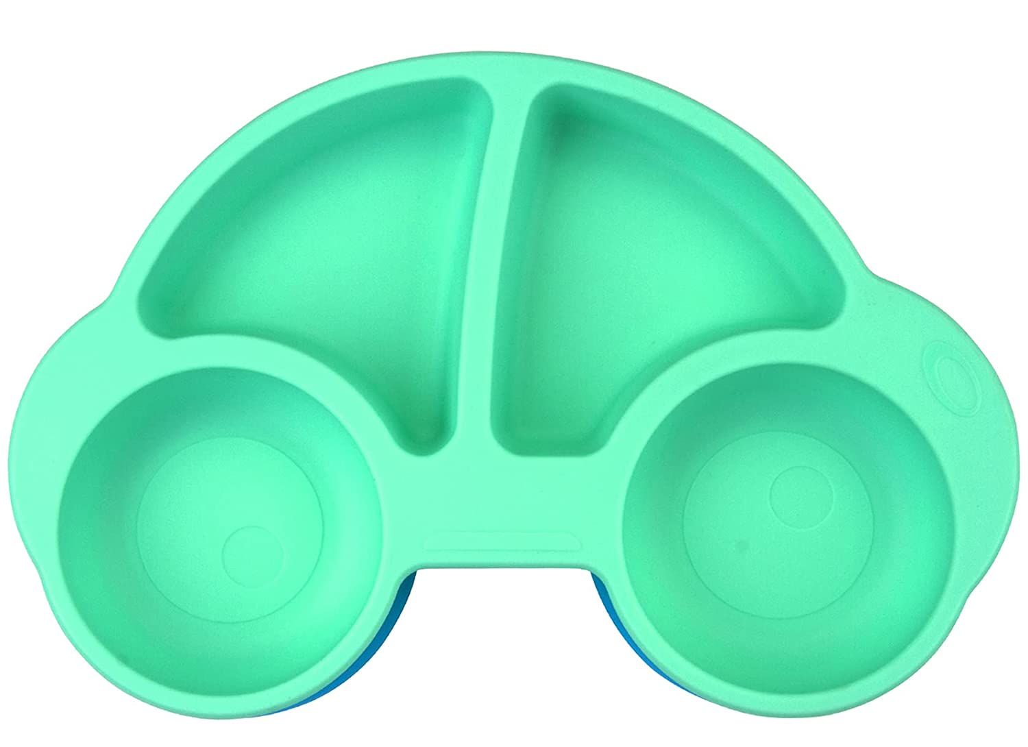 Silicone Divided Toddler Plates - Portable Non Slip Suction Plates for Children Babies and Kids BPA Free Baby Dinner Plate