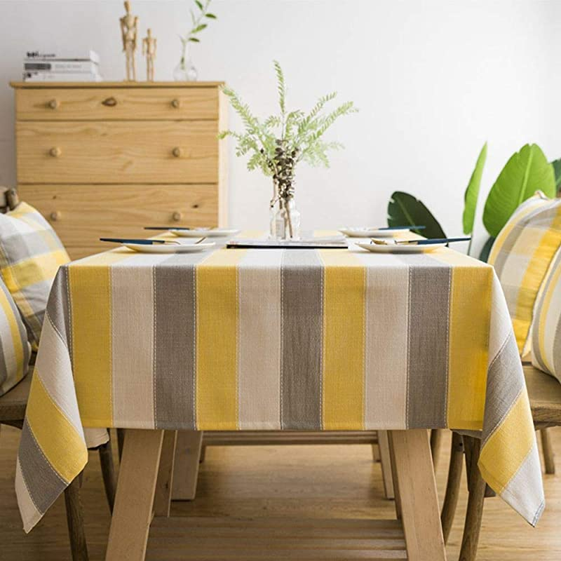 Lahome Stripe Tablecloth Water Resistant Heavy Weight Cotton Linen Table Cover Kitchen Dining Room Restaurant Party Decoration Gray Yellow Rectangle 53 X 86