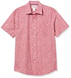 Amazon Essentials Men's Short-Sleeve Regular-Fit Casual Poplin Shirt Shirt, -Washed Red Small Roses, Medium