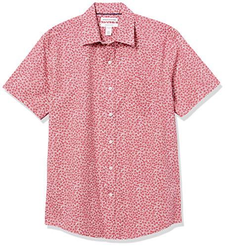 Amazon Essentials Regular-Fit Short-Sleeve Shirt Camicia, Rose Piccole Rosse Lavate, M