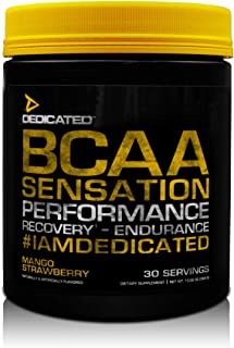 DEDICATED Nutrition BCAA Sensation - Essential Amino Acid, Leucine, Isoleucine, Valine, Taurine, Citrulline | Rhodiola Rosea, Grape Seed Extract | Muscle Growth & Recovery, 30 Serving (Mango Strawberr