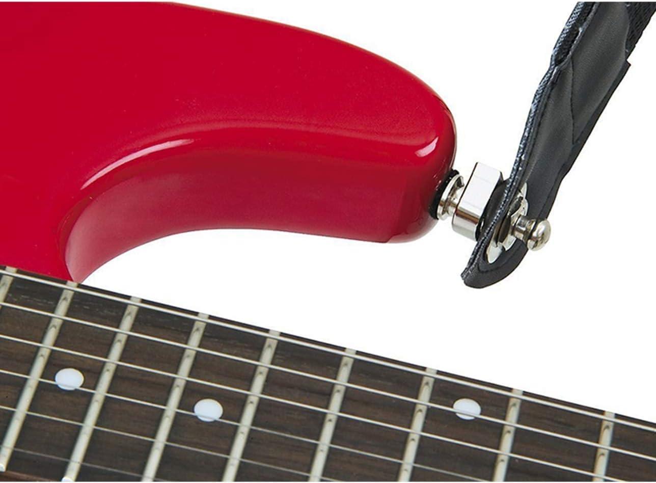 2PACK Guitarra cerraduras correa guitarra correa seguridad bloqueo para guitarra el/éctrica guitarra ac/ústica bajo Enganches de correas para guitarra bajo Black