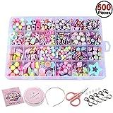 Sasairy 500 Stücke DIY Perlen Bunte für Kinder DIY Halskette Armbänder Haarband Basteln Pädagogisches Spielzeug mit Werkzeuge und Zubehör,Kit 4(Ca. 500 Stücke)