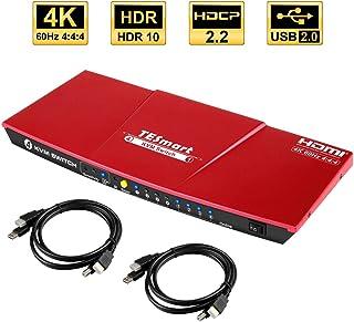 TESmart 4入力1出力 PC切り替え 4K@60Hz HDR パソコン切替器 4ポート KVM HDMI スイッチ 切り替え、HDMI付き| 4x1用の複数のポート Com-plete USB対応ケーブル| 最大4台のコンピュータ、サーバ、DVRを制御| リモートコントロールディスプレイ(4ポート 赤)