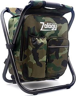 Zology Chaise de camping pliable - Sac à dos avec sac isotherme - Sac de pique-nique - Sac de randonnée portable - Sac de ...