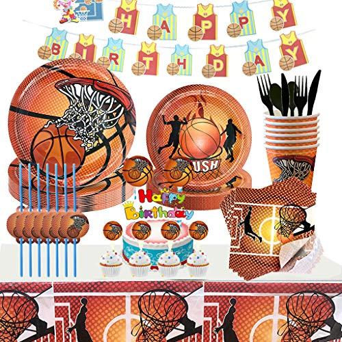 Noe 158tlg. Basketball Party Supplies für Jungen Geburtstag, Basketball Pappgeschirr Sport Thema Geburtstagsparty Set mit Teller, Servietten, Becher usw. Basketball Party Deko für 16 Personen