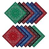 Pañuelos estampados Paisley, 12 pcs de pañuelos surtidos de bolsillo cuadrados pañuelos unisex novedad impresión cabeza bufanda bufanda, accesorio de ropa de moda para adultos y niños, 6 colores
