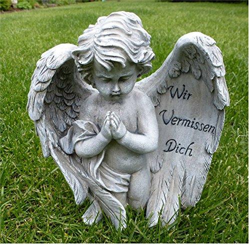 Engel mit Flügel Grabschmuck Grabdeko *Wir vermissen dich* grau-antik, 20 cm