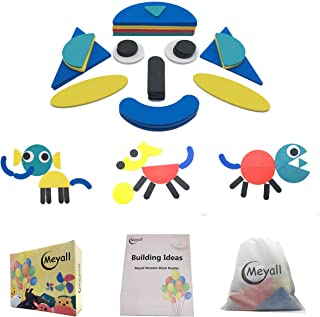 MEYALL Wooden Pattern Block Sets Animals Jigsaw Puzzle Shapes, Sorting and Stacking Game, Early Educational Toys Gift for Preschool Boys Girls Kids Children (38pcs Blocks & 64pcs Designs)