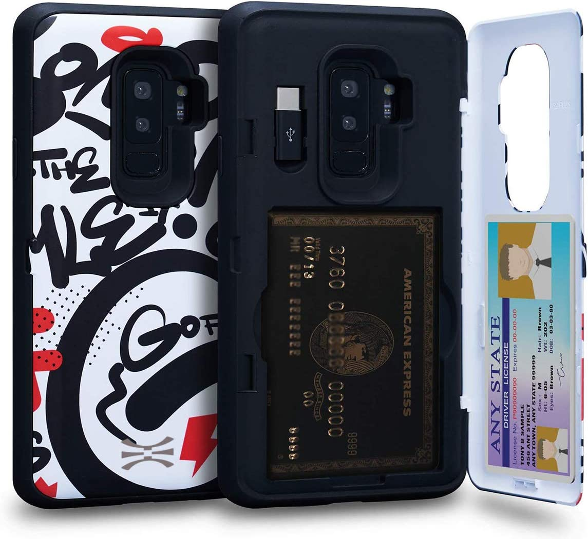 TORU CX PRO Compatible with Samsung Galaxy S9 Plus Wallet Case - Protective Colorful Pattern Dual Layer with Hidden Card Holder, ID Slot Hard Cover, Mirror & USB Adapter - Graffiti