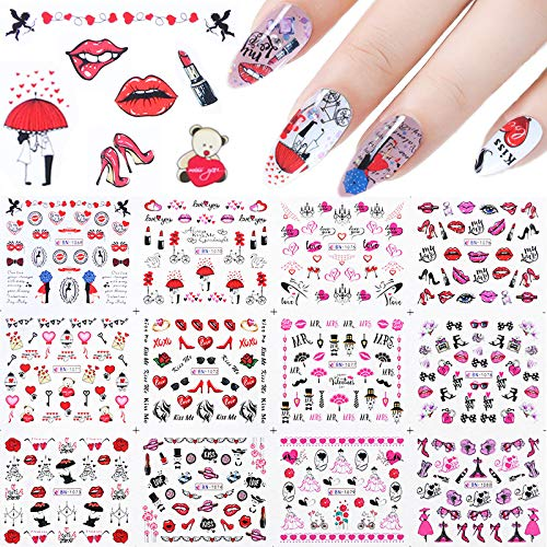 12 Sheets Valentines Nail Stickers, Kalolary Water Transfer Nail Art Sticker Decals Lips Women Girl Colorful Slider for Dating Valentines' Day Decor Manicure Nail Art Decorations