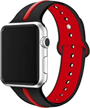 EloBeth Watch Bands Compatible with Apple Watch Band 44mm 42mm Series 5 4 3 2 1 iWatch Sport Silicone Band Stripe Color Splicing (42mm/44mm,Black & Red)