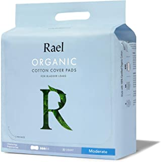 Rael Organic Incontinence Pads Moderate- Organic Bladder Control and Postpartum Pads, 4-Layer Core with Leak Guard Technol...