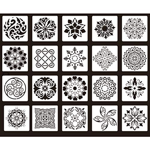 20 Pack Geometric Stencils 12 x 12 Inch - Modern Wall Stencils for Scrapbooking Drawing | Perfect Alternative for Wallpaper