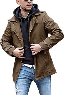 Mens Trench Coat Lightweight Jacket Spring Autumn Short Windbreaker Outerwear
