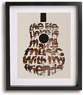 On The Road Again by Willie Nelson inspired song lyric art print, guitar poster gift idea