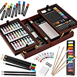 Vigorfun Deluxe Art Set in Wooden Case, with Soft & Oil Pastels, Acrylic &...