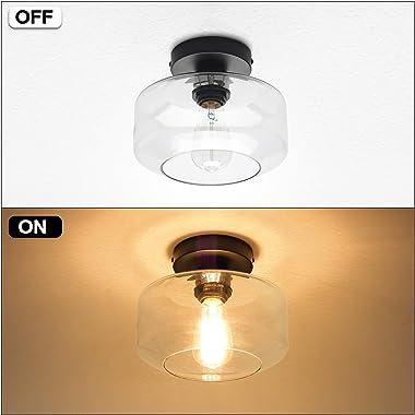 Industrial Semi Flush Mount Ceiling Light, Clear Glass Pendant Lamp Shade, Farmhouse Lighting for Porch Hallway Kitchen Islan