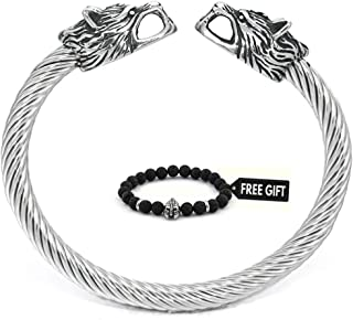 BaviPower Men's Viking Wolf Double Head Odin Norse Bangle Bracelet Stainless Steel Asatru Pagan Jewelry for Men Women