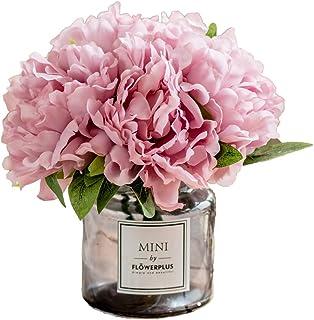 خانه تازه ، گلهای مصنوعی با گلدان گل ، گلهای گل صد تومانی تقلبی در گلدانهای خاکستری ، تنظیمات گل فاکس برای دکوراسیون منزل ، شیرین سبک ، کوچک