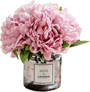 Fresh home ,Artificial Flowers with Vase, Fake Peony Flowers in Gray Vase,Faux Flower Arrangements for Home Decor,Light Lilac,Small